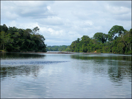 Suriname - Danpaati, view from the rocks in the river