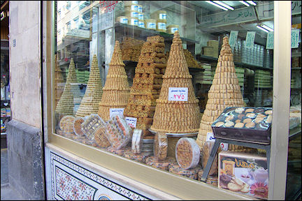Syria, Damascus - Cookie shop in the souk