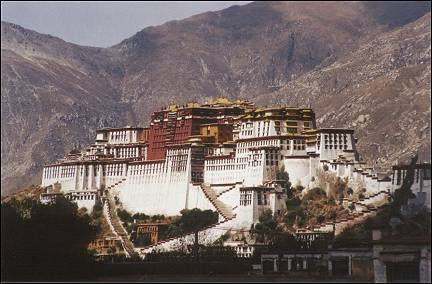Tibet - View of the Potala from the Jokhang