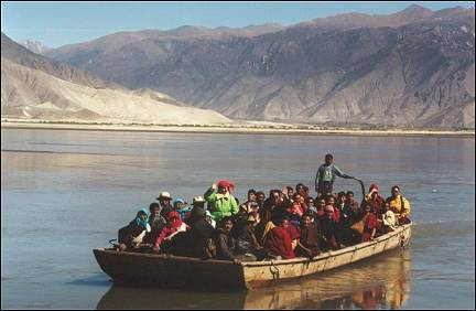 Tibet - Boat crossing the Jarlung Tsampo