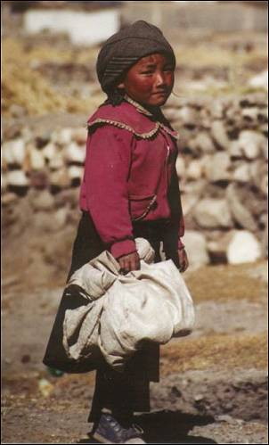 Tibet - Curious but shy girl