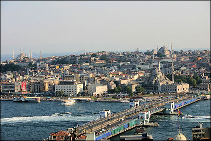 Turkey - Istanbul, view from Galata Tower with left the Blue Mosque