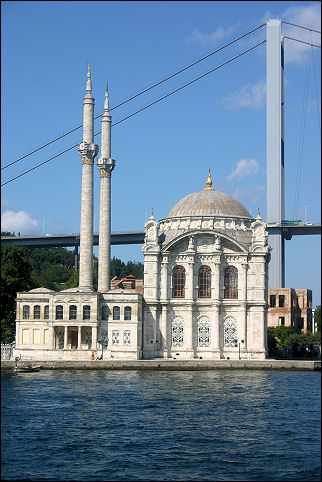 Turkey - Istanbul, Ortaköy Mosque with the Bosphorus Bridge in the background