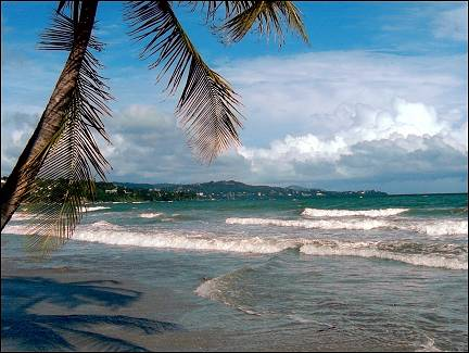 Trinidad and Tobago; - Little Rocky Bay with view of Scarborough