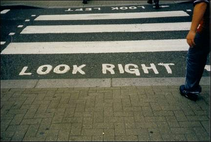 Great Britain, London - Careful when crossing
