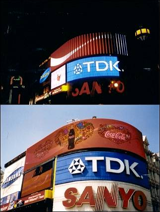 Great Britain, London - Neon signs Piccadilly Circus at night and day time