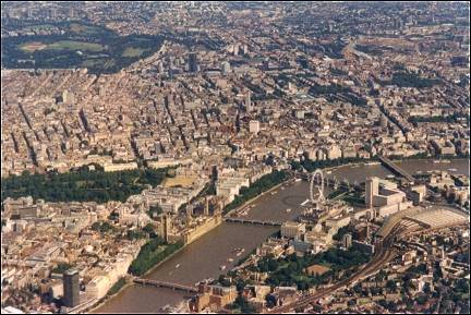 Great Britain, London - Big Ben, Houses of Parliament and London Eye from the air
