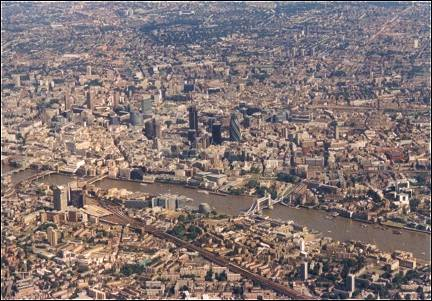 Great Britain, London - Aerial photo of the City with the Tower Bridge