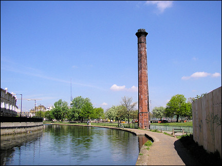 United Kingdom, London - Lone industrial chimney