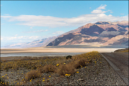 USA, California - Death Valley, salt lake at the foot of the Funeral Mountains
