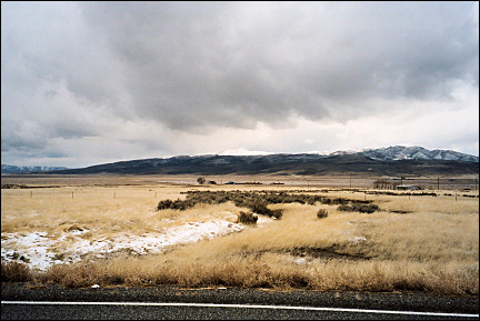 USA, Nevada - More snow coming, Highway 305