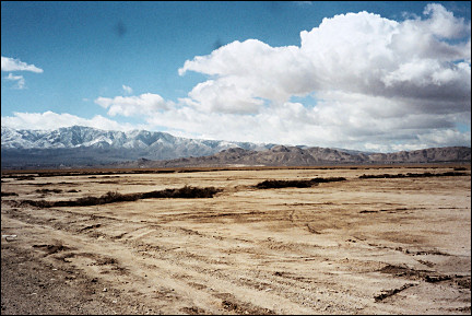 USA, Arizona - Lucerne Dry Lake with the San Bernardino Mountains in the background