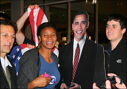 USA, New York - Posing for a picture with cardboard Obama