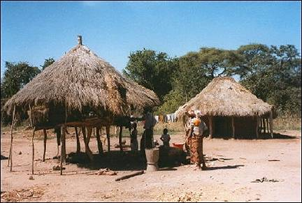 Zambia - Village with reed huts