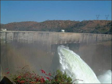 Zambia - Lake Kariba crashes into the Zambezi river