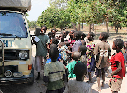 Zambia - Village children surround the van