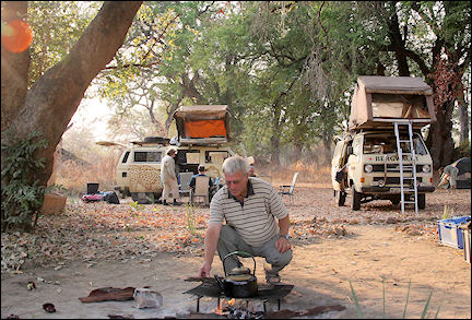 Zambia - Cooking fire near the vans